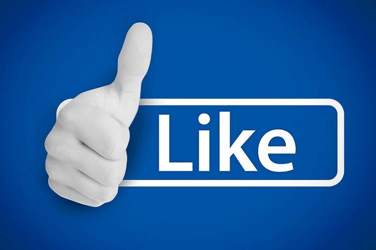 White thumb up next to the like from social networks on blue bac